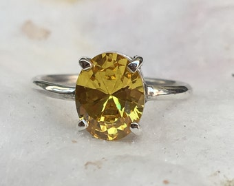 2a6efa29a8dd6 Items similar to Citrine Oval Statement Cocktail Ring Sterling ...