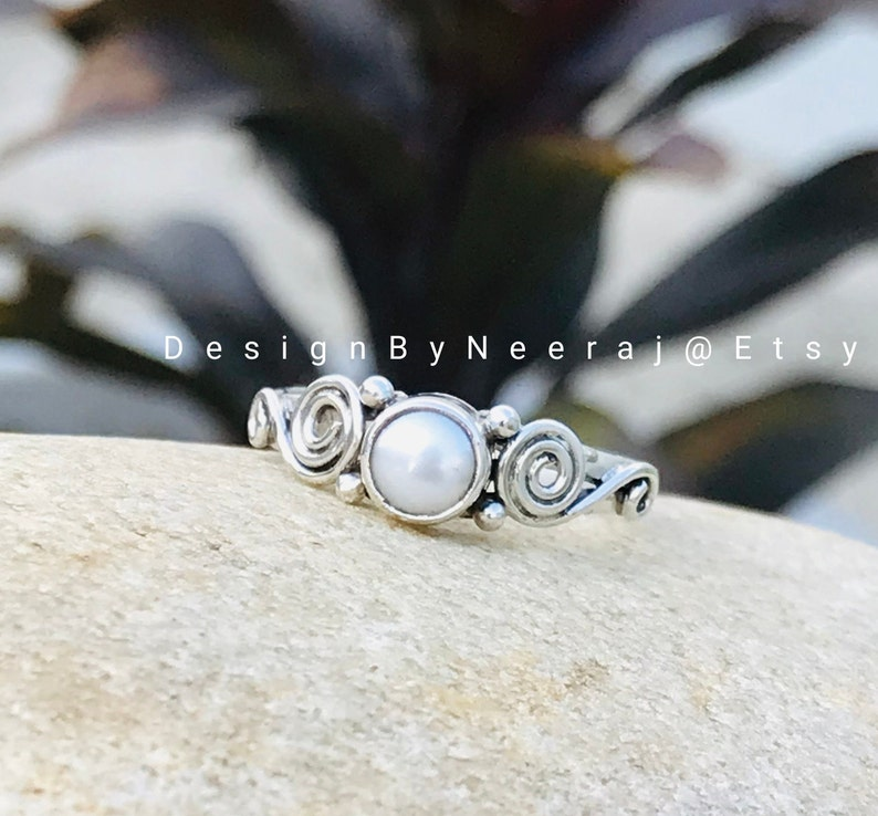 Fresh Water Pearl Ring 925 Sterling Silver Ring Natural Tiny Pearl Dainty Ring June Birthstone Ring Handmade Ring Gift For Her