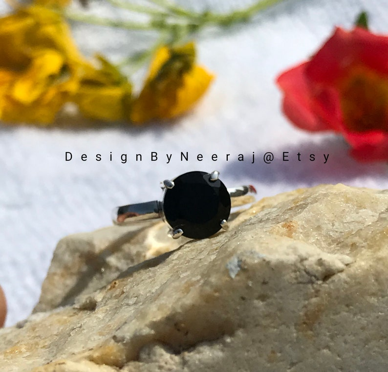 Womens Rings Onyx Black Rings Black Onyx Rings 925 Sterling Silver Gifts for Her Beautiful Black Onyx Prong Setting Ring