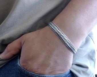 Bold Silver Braided Chain Bracelet