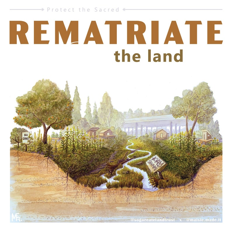 Rematriate the Land: giclee 12 x 12 print of watercolor image 0
