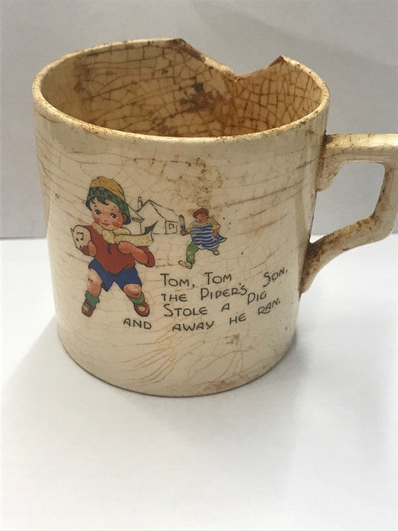Pottery & China Vintage Nursery Mug Tiny Tom Tom The Pipers Son