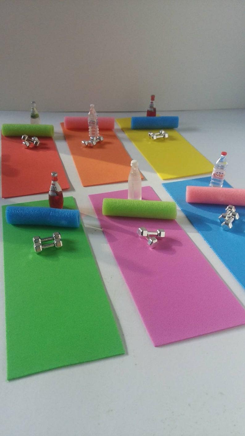 Miniature Workout Set. Yoga mat dumbbells foam roller image 0