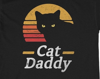 STDONE Womens Personalized Casual Tees Vintage Best Cat Dad Ever Short Sleeve Cool Tshirts Black
