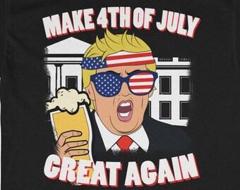 980c736b3 Make 4th of July Great Again T shirt Trump Men Women Beer Unisex Heavy  Cotton Tee