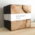 Topographic Coasters, Rocky Mountain National Park, Birch Plywood, Laser Cut, Wood, Coaster, Fabrication, Product, Mountains, Coit Creative