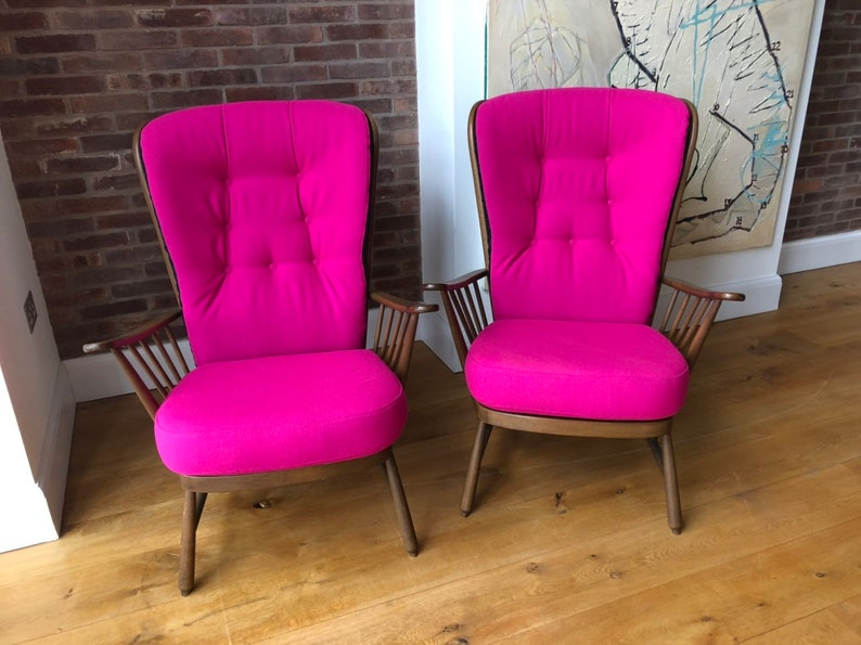 Two Vintage Ercol Evergreen Easy Chairs Upholstered In Hot Etsy