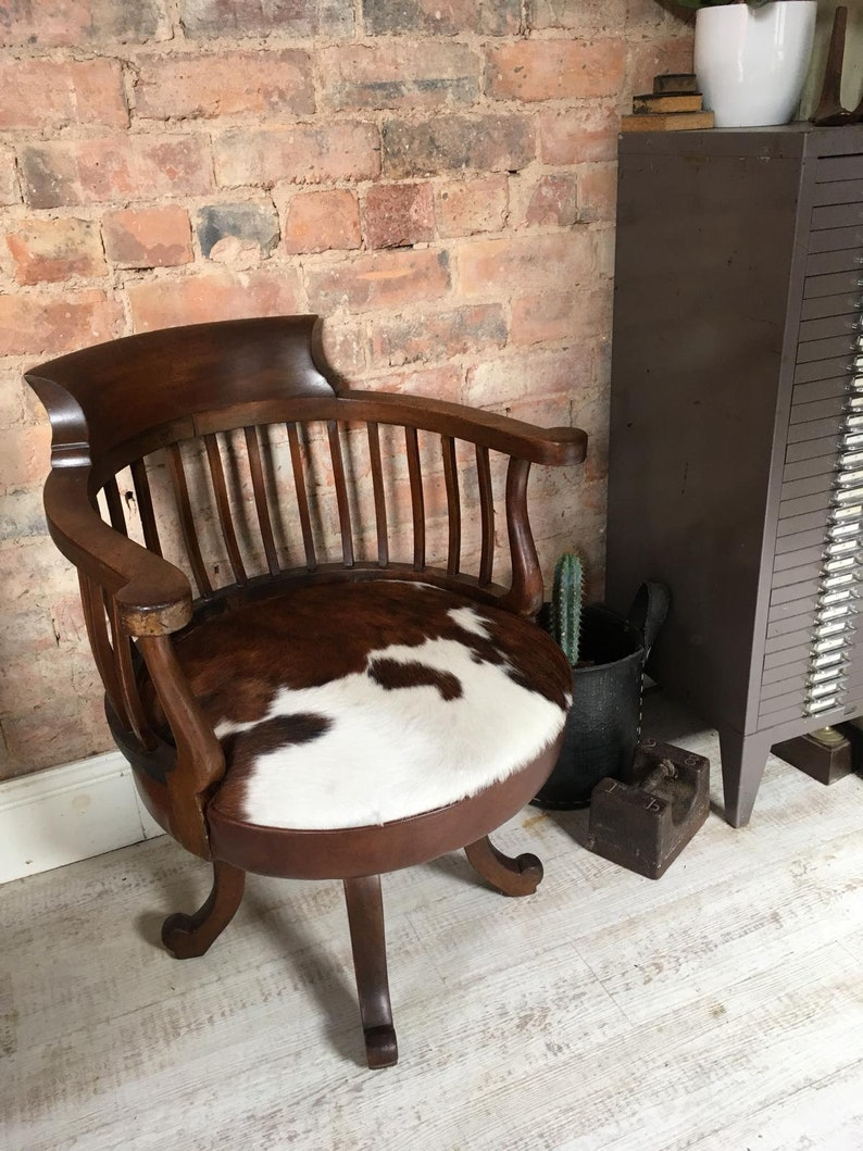 Vintage Burgermeister Style Chair With Contemporary Cowhide Seat Collection Only From Nw3 De56 Or Delivery Cost Dependant On Location