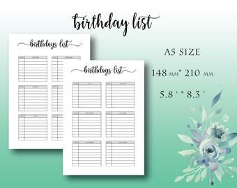 A5 Birthday List Planner Chart Printable Tracker Reminder Calendar By Months