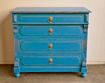 Antique chest of drawers solid wood unique Art Nouveau