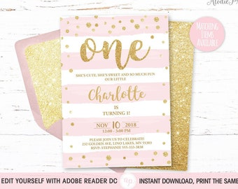 1st BIRTHDAY INVITATION Girl First Birthday Party Invite Instant Download PDF Template Baby Outfit Pink Stripes Gold Glitter Bdi02