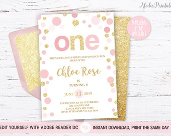 1st BIRTHDAY INVITATION Girl First Birthday Party Invite Instant Download PDF Template Baby Outfit Pink Dots Gold Glitter Bdi24