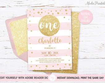 1st BIRTHDAY INVITATION Girl First Birthday Party Invite Instant Download PDF Template Baby Outfit Pink Stripes Gold Glitter Bdi10