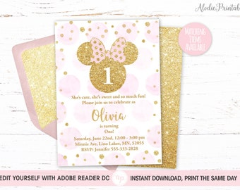 MINNIE MOUSE 1st Birthday Invitation Girl First Party Invite Instant Download PDF Template Pink Dots Gold Glitter Bdi09