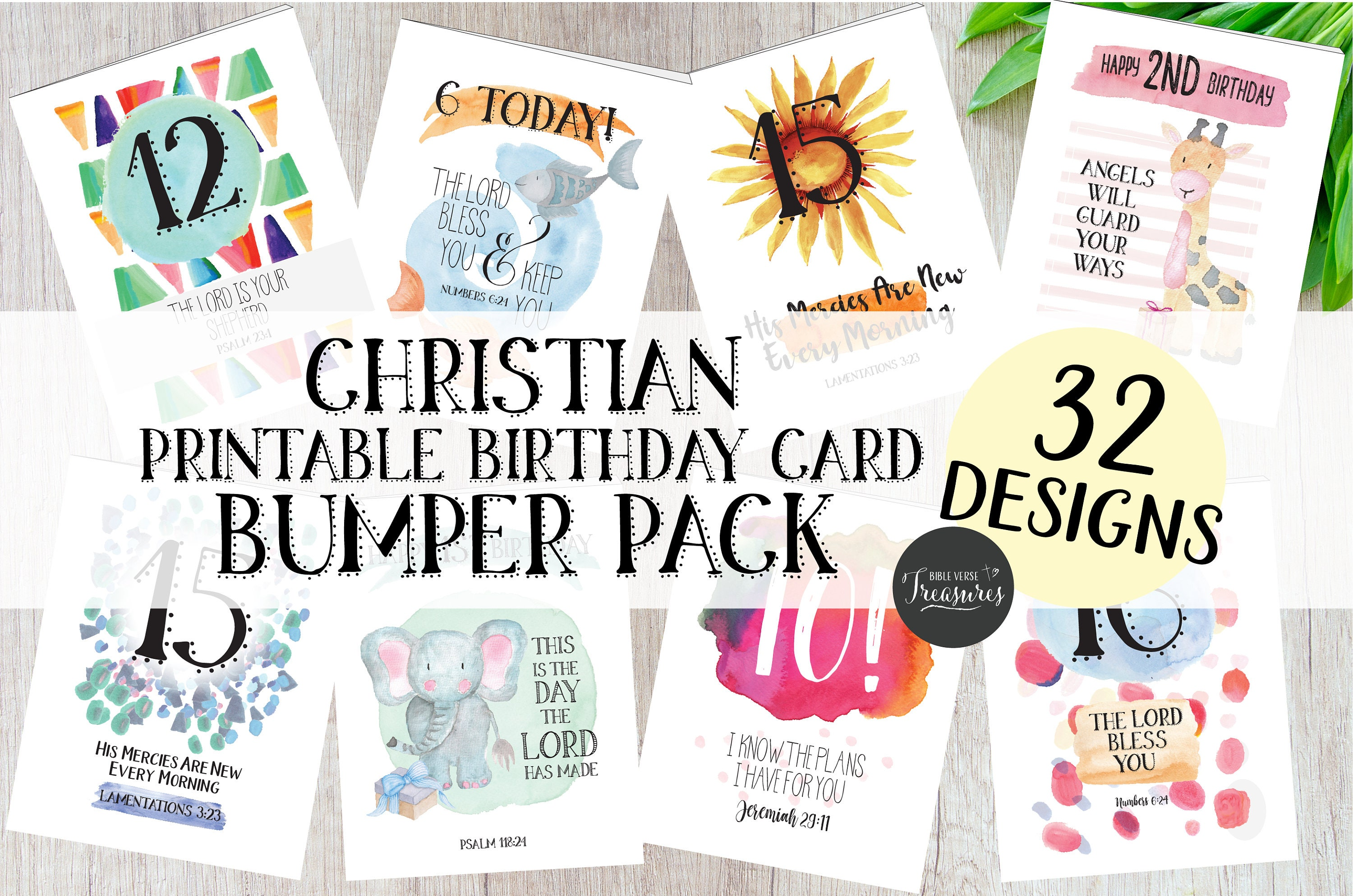 32 Bumper Pack Printable Christian Scripture Childrens Birthday Greeting  Cards, A5 & A6, Ages 1 - 16, Instant Download, Print at Home, DIY