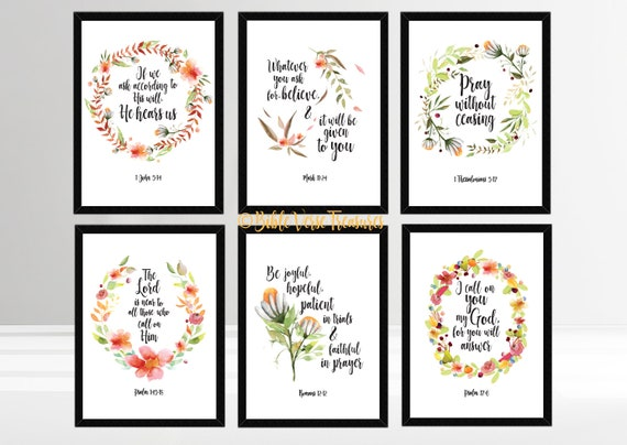 photograph regarding Printable Bible Verses called Preset of 6 Printable Bible Verses More than Prayer, Scripture Bumper Pack, Prompt Down load, Print Multipack, Christian, Wall Artwork, Baptism