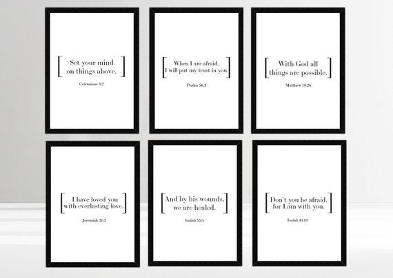 Set of 6 Printable Bible Verses, Scripture Bumper Pack, Instant Download  Print Multipack, Christian Wall Art, Christian Faith Prints, Poster