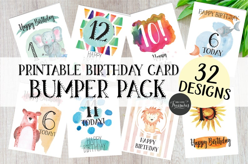 32 Pack Printable Childrens Birthday Greeting Cards Ages 1 To