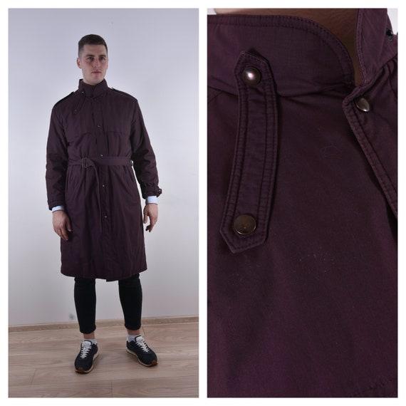 Bordeaux Long Coat Trench Coat Men Long Coat Belte