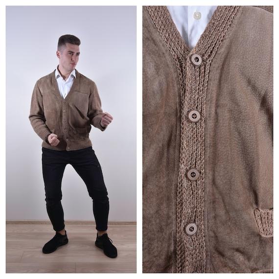 Vintage Light Brown Cardigan Suede Leather Cardiga