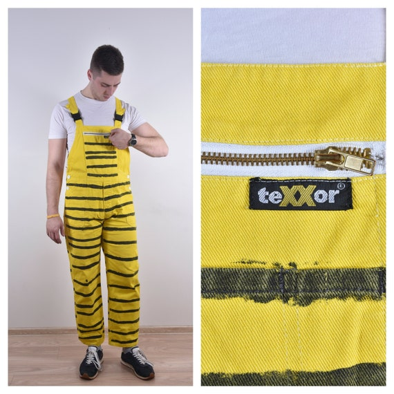90'S Vintage Denim Overall Yellow Overall Striped