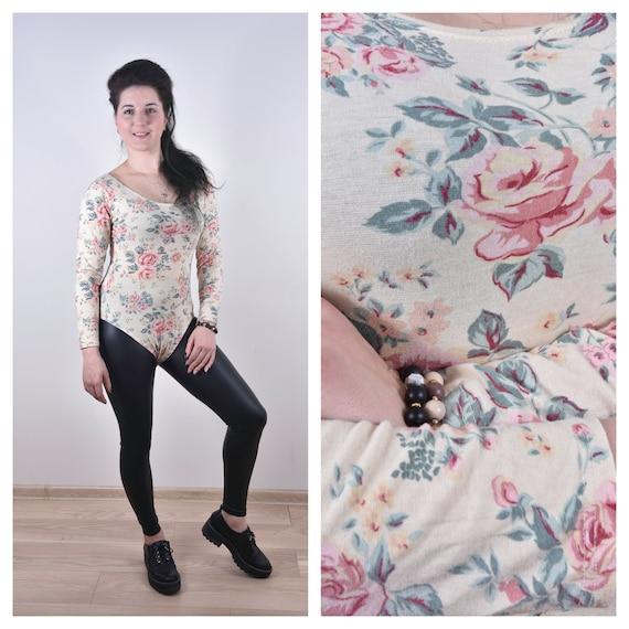 Women Bodysuit Floral Catsuit Long Sleeve Bodysuit