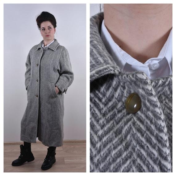 Vintage Women Harringbone Coat Long Coat Gray Coat