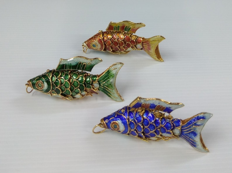 Blue Gold Koi Fish Charm Vintage Chinese Cloisonne Handmade Articulated Fish Pendant Keychain Gold-plated Enamel Color Green