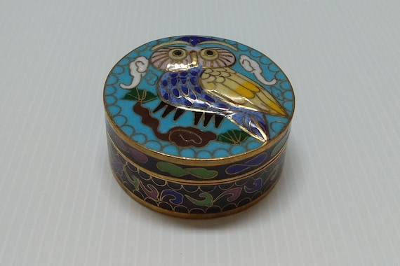 and birds Heart shaped trinket box old hand painted lidded w free ship