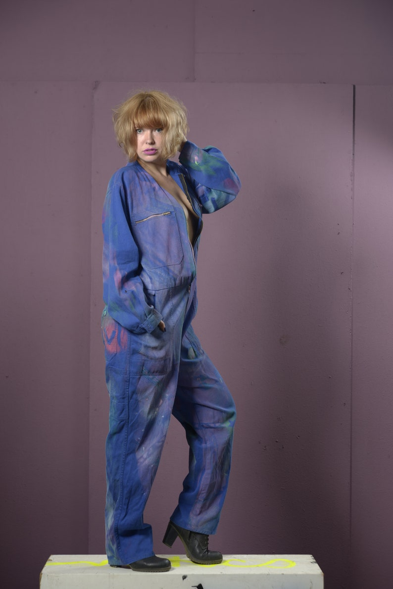 blue craftsman/'s jumpsuit in size ML who are da heroes and who are da terrorists from the collection fashion punks fuck off!