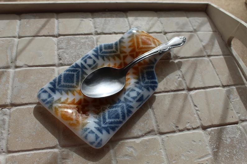 fused glass glass spoon rest Fused glass spoon rest housewarming boho birthday gift wedding kitchen decor square spoon rest tribal
