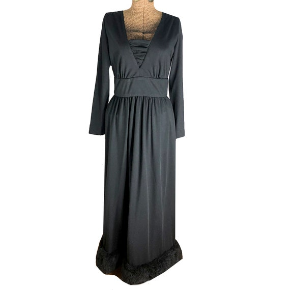 VTG Victor Costa Black Faux Fur trim Gown