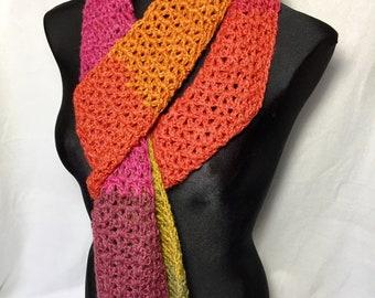 c109f718 Crochet scarf, handmade crochet scarf, women's scarf, long scarf, earth  tone scarf