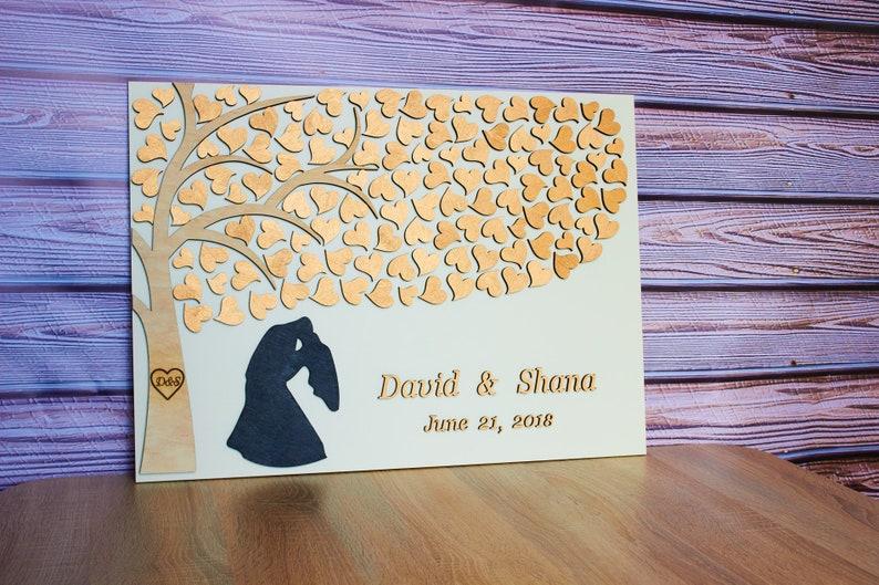 ROSE GOLD wedding guest book alternative Personalized Wedding guest book 3D Initial on tree wedding guest book Couple silhouette guest book