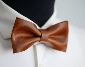 6d03caa11ac9 Wedding bow tie with adjustable length, brown leather bow tie, groom bow tie,  mens bow tie, anniversary gift for him