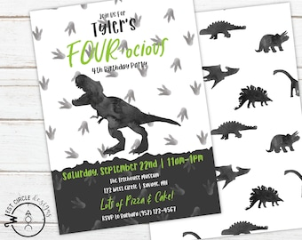 Kids Dinosaur Birthday Invitation ALL Text Editable Boys Dino Invite Party 4th T Rex