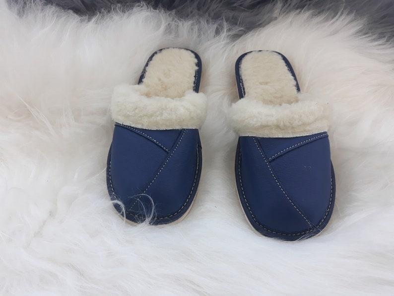 ed15d661719f1 Sheeps Wool Slippers - Winter Womens Sheepskin Blue/ Red Leather Booties -  Handmade Warm Mules Birthday & Christmas Gift B