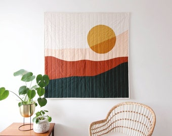 Mountainscape large tapestry. Quilted landscape tapestry. Handmade modern throw quilt. Nature inspired aesthetic.