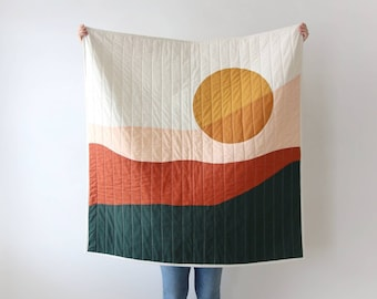 Modern Mountain Landscape Quilt and Tapestry Wall Hanging