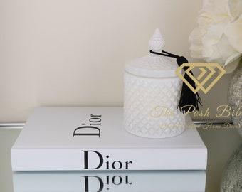 1 Blank Book Designer Inspired White Black Silver Gold