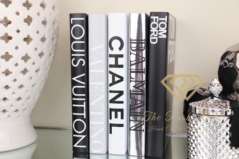5 Books Designer Inspired White Silver Black Grey Blank Etsy