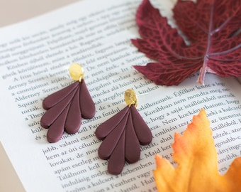 Burgundy drop earrings, Polymer clay statement earrings, Gift for her