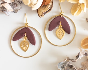 Burgundy drop earrings with hoop, Polymer clay statement earrings, Gift for her