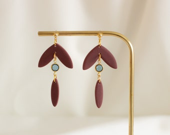 Burgundy drop earrings with blue Swarovski Crystal, Polymer clay statement earrings, Gift for her