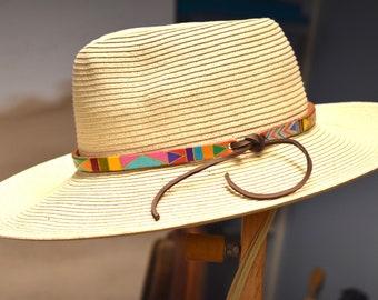 Leather hat band Hand Painted hatband Boho hatband Western style hatband southwestern hatband hatband for sun hat hatband for cowboy hat