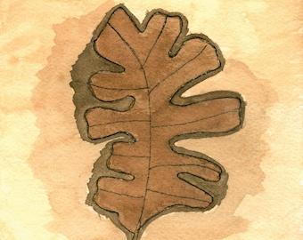 Trio Of Leaves Watercolor (3) Digital Downloadable Prints