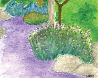 Purple Pathed Garden Watercolor Digital Downloadable Print