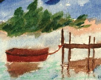 Docked Boat Watercolor Digital Downloadable Print