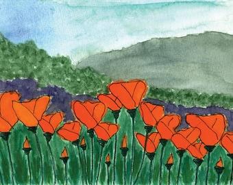 Trio Of Poppies Watercolor (3) Downloadable Digital Prints