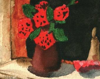 Window Sill Flower Pot Watercolor Downloadable Print